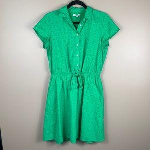 J. Crew kelly green eyelet short sleeve dress sm